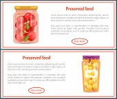 Preserved Food Banners With Tomatoes And Peaches. Vegetable In Marinade, Sweet Fruit Jam Inside Jar, poster