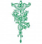 Green antique caduceus symbol