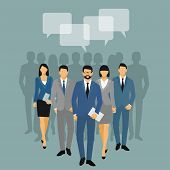 Business Men And Women Silhouette. Team Business People Group Hold Document Folders  On Blue Backgro poster