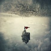 Confident Superhero With Red Cape Standing On A Levitating Stone Underneath The Cityscape. Imaginary poster