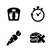 Weight Loss, Burning Diet. Simple Related Vector Icons Set For Video, Mobile Apps, Web Sites, Print  poster