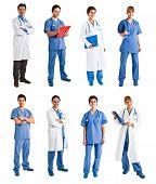 Colección de retratos de cuerpo entero de personas médicas