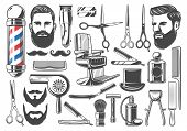 Barbershop Tools And Equipment, Beard Or Mustache Shave And Haircut. Vector Set Of Barber Shop Pole  poster