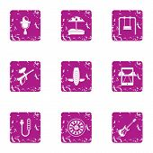 Extreme Day Icons Set. Grunge Set Of 9 Extreme Day Icons For Web Isolated On White Background poster