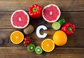 Vitamin C In Fruits And Vegetables. Natural Products Rich In Vitamin C And Word C poster