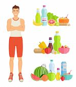 Man Eating Healthy Food Isolated Icons. Banana And Watermelon, Bottles With Water And Milk, Eggs And poster
