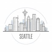 Seattle City Skyline - Towers And Landmarks Of Seattle, Cityscape poster