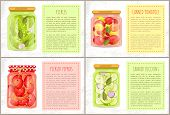 Pickles In Marinate, Canned Tomatoes With Bay-leaf And Dill And Zucchini, Pickled Peppers. Preserved poster