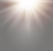 Yellow Glowing Light Explodes On A Transparent Background. Sparkling Magical Dust Particles. Bright  poster