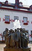 Ratsbrunnen Fountain In Front Of The Town Hall In Linz Am Rhein