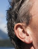 stock photo of inner ear  - Face of man with focus on ear - JPG