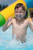 Little boy at aqua park