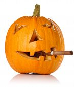 Halloween Pumpkin.scary Jack O'lantern Smoke Cigar