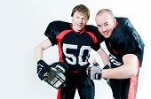 Two Friendly American Football Players