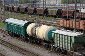 Railroad Cars On A Railway Station. Cargo Transportation