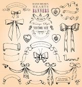 Vintage Style Hearts, Banners & Bows