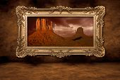 Monument Valley Panorama in einem Frame Vintage boroque