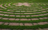 Circular outdoor prayer labyrinth