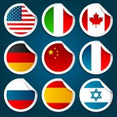 Stickers Representing World Flags