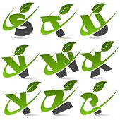 Swoosh Green Alphabet with Leaf Icon Set 3