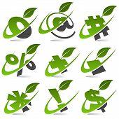 Swoosh Green Symbols with Leaf Icons