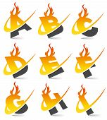 Swoosh Flame Alphabet Set