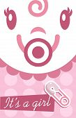Pink Baby Girl Invitation Card