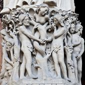 pic of adam eve  - Detail on Notre Dame de Paris Cathedral fachade - JPG