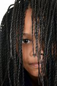 young black girl with Cornrows over face