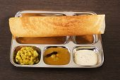 Dosa With Chutney And Sambaar
