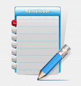 Remember Blank Diary With A Blue Pencil