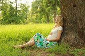 Young Pregnant Woman On Nature