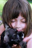 Little Girl And Her Mini Schnauzer