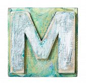 picture of letter m  - Wooden alphabet block - JPG