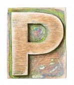 pic of letter p  - Wooden alphabet block - JPG