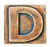 Wooden alphabet block, letter D