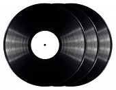 Black vinyl records isolated on white background