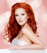 Beautiful Red Haired Woman With Long Hairs