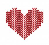 seamless Knitted vector pattern with red heart
