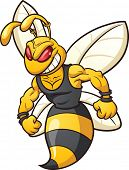 Cartoon bee mascot. Vector clip art illustration with simple gradients. All in a single layer.