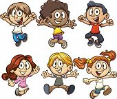 Excited cartoon kids jumping. Vector clip art illustration with simple gradients. Each on a separate layer.
