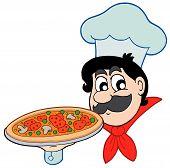 Chef de dibujos animados con Pizza