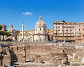 Italy. Rome. Trojan column churches of Santa Maria di Loreto and ruins of a forum of Trajan
