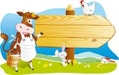 Cute cartoon cow with milk, rabbit and hen pointing wooden signboard. Space for text, countryside fa