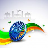 3D Ashoka wheel on national flag colors wave background with butterflies on Red Fort background.