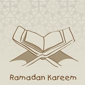 Open Islamic religious holy book Quran Shareef on abstract brown background for holy month of Muslim community Ramadan Kareem.