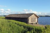 foto of olaf  - Old boat house by lake Rautavesi by St Olaf Church in Tyrvaa - JPG