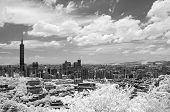 Taipei cityscape with famous landmark, 101 skyscraper under dramatic sky, infrared photography. Shoo