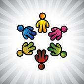 Conceito vetor gráfico-crianças coloridas ou Icons(symbols) crianças em círculo