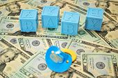 Blue Baby Blocks with Pacifier on American Cash